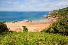 beach de格雷韦・泽西lecq美丽如画的英国 免版税库存图片