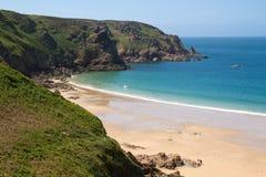 beach de格雷韦・泽西lecq英国 免版税库存照片
