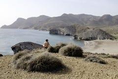 Beach de monsul, cabo de gata, andalusia, spain, europe, view Stock Photos