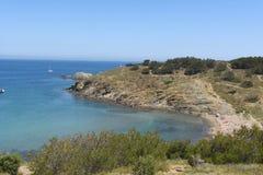 Beach of de Ras cape in Colera, Costa Brava, Royalty Free Stock Photography