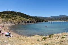 Beach of de Ras cape in Colera, Costa Brava, Royalty Free Stock Photo