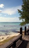 Beach from the Deck. A view of the Caribbean Sea from a deck Royalty Free Stock Photo