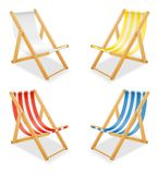 Beach deck chair made of wood and fabric stock vector illustrati. On isolated on white background Royalty Free Stock Photos