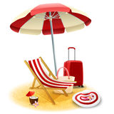 Beach Deck Chair And Umbrella Illustration Royalty Free Stock Photos