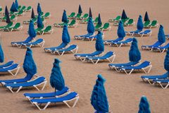 Beach deck-chairs Stock Photo