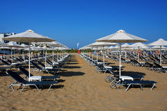 Beach with deck chairs in Rethymnon, Crete Royalty Free Stock Photography