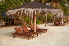 Beach deck chairs under straw umbrellas. Indian ocean coastline on Maldives island. White sandy beach and calm sea. Beach chairs under umbrellas. Indian ocean royalty free stock image