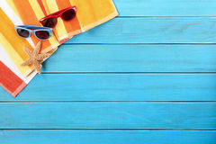 Beach Deck Summer Sunbathing Background, Sunglasses, Copy Space Royalty Free Stock Images