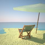 Beach with deckchair and ball Stock Image