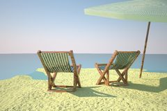 Beach with deckchair and ball Royalty Free Stock Images