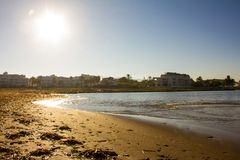Beach in Denia, Spain, at sunrise royalty free stock photo