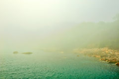 The beach in dense fog Stock Photography