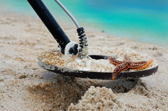 Metal Detecting. On tropical beaches Stock Images