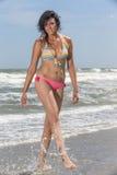 At The Beach di modello femminile castana alto Fotografie Stock Libere da Diritti
