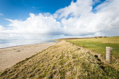 Beach and a dike along a Dutch estuary Stock Image