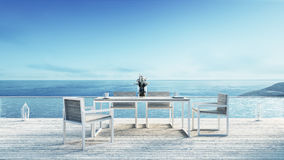 Beach dining & Sea view / 3d rendering. Beach dining & Beach lounge Sea view Royalty Free Stock Images