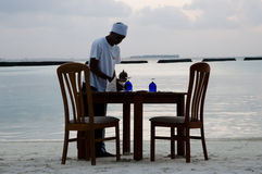 Beach dinner - Maldives Stock Images