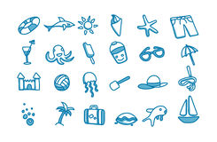 24 beach doodle icons. 24  vector doodle blue beach icons on white Royalty Free Stock Photography