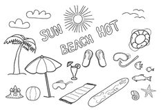 Beach doodles. Stock Images