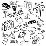 Beach Doodles. Hand - drawn doodles representing summer, traveling and relaxation vector illustration