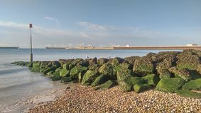 Beach in Dover. With a view at Prince of Wales pier stock image