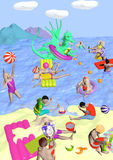 Beach with dragon. Children playing on a beach with a dragon, raster illustration Royalty Free Stock Image