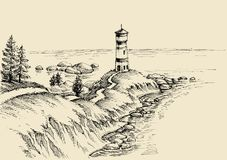 Beach and lighthouse drawing Stock Photos