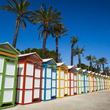 Beach dressing rooms. Row of summer beach dressing rooms in Costa Brava, s'Agaro beach. Girona Royalty Free Stock Images