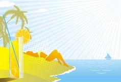 Beach; drink; enjoy; girl; glass. Beautiful girl lie on hot sand summer drink Stock Photo