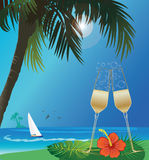Beach and drink Stock Image