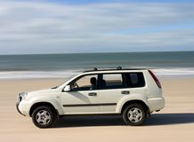 Beach Driving. At Bribie Island, Queensland - Australia with Nissan X-trail Stock Image