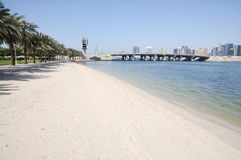 Beach at Dubai Creek Royalty Free Stock Image