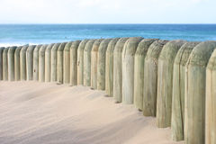 Beach dune and beach fence. With the sea in the background royalty free stock photography