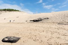 The beach of the dune of Pilat, Arcachon Bay, France. The beach of the dune of Pilat, or Pyla, in France, on the Arcachon Bay : the highest sand dune in Europe Royalty Free Stock Photo