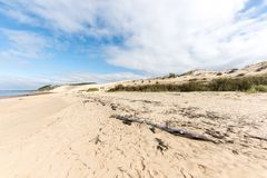 The beach of the dune of Pilat, Arcachon Bay, France. The beach of the dune of Pilat, or Pyla, in France, on the Arcachon Bay : the highest sand dune in Europe Stock Photography