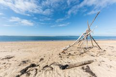 The beach of the dune of Pilat on the Arcachon Bay, France. View on the sandbank of Arguin from the beach of the dune of Pilat, or Pyla, in France, on the Royalty Free Stock Images