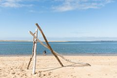 The beach of the dune of Pilat on the Arcachon Bay, France. View on the sandbank of Arguin from the beach of the dune of Pilat, or Pyla, in France, on the Royalty Free Stock Image