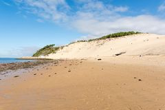 The beach of the dune of Pilat, Arcachon Bay, France. The beach of the dune of Pilat, or Pyla, in France, on the Arcachon Bay : the highest sand dune in Europe Royalty Free Stock Images