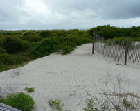 Beach Dunes and Fence. Waves, fences, and vegetation from boardwalk at Little Talbot Island State Park, Florida, on a stormy day Stock Photo