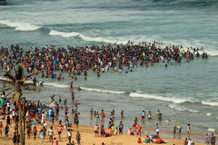 Beach in Durban, South Africa. Crowd swimming in the sea in Durban, South Africa Royalty Free Stock Photo