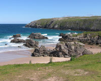 Beach at Durness, Scotland. A view of the beautiful and unspoilt beach at Sango Bay, Durness in the far North West of Scotland, UK Royalty Free Stock Photo