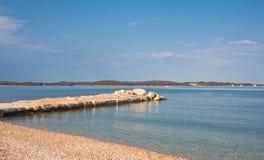 Beach in the early morning. Istria, Croatia stock photo