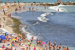 Beach of Eforie South. Beach resort of Eforie South(Eforie Sud in romanian) from Black Sea shore invaded by algae.Constanta county,Romania Stock Photo