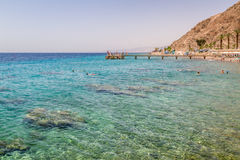 Beach of Eilat city, Red Sea, Israel. Beach of Eilat city, gulf of Aqaba in the Red Sea, Israel Stock Photos