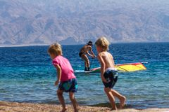 Beach in Eilat on the Red Sea. Royalty Free Stock Images