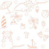 Beach element doodle vector Stock Images