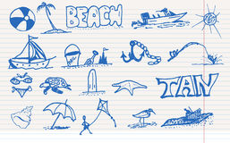 Beach elements. Doodle sketch design elements mega vector illustration set. Can be used for cards, invitations, web design, background, surface textures and Royalty Free Stock Photography