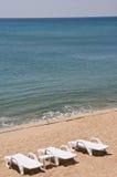 The beach. Empty beach chairs on the beach Stock Image