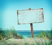 Beach Empty Plank Sign Banner Timber Coastline Summer Concept Stock Photography