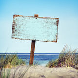 Beach Empty Plank Sign Shore Timber Coastline Concept Royalty Free Stock Photos